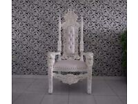 2 x New White Lion Queen Throne Chair Wedding Events Luxury Ornate Carved Furniture Italian Throne