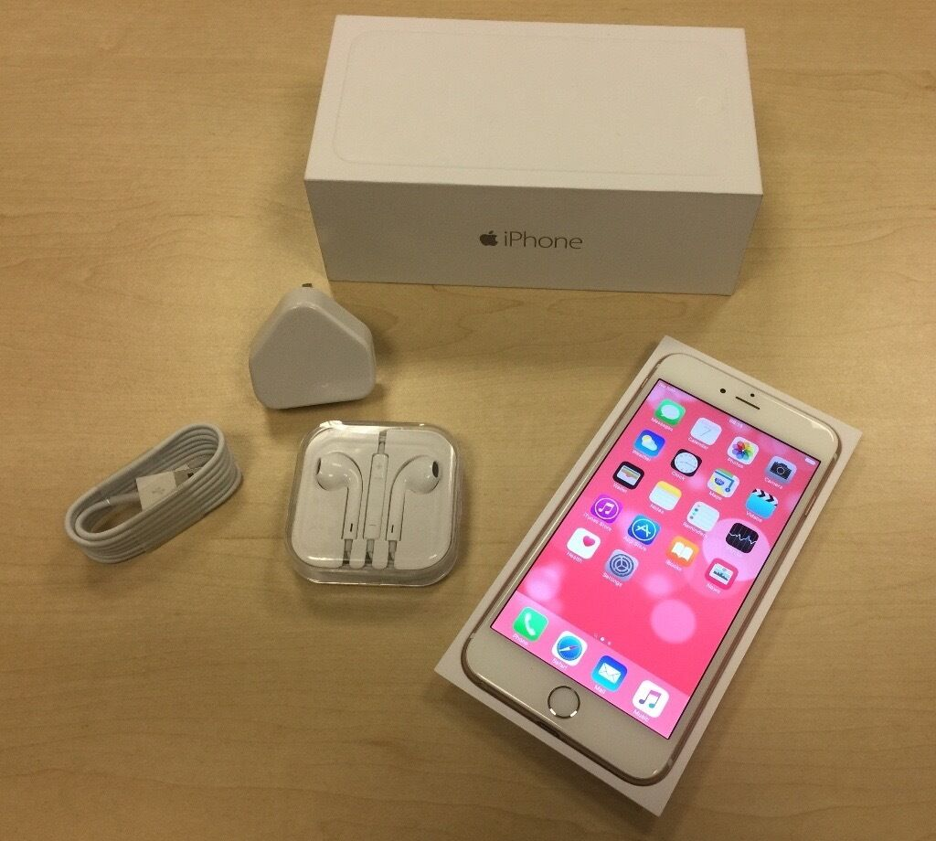 boxed rose gold apple iphone 6 plus 64gb factory unlocked mobile phone warranty in harborne. Black Bedroom Furniture Sets. Home Design Ideas