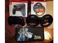 NEW Nintendo Switch Pro Controller + Joy-Con Wireless Wheel + Zelda Console Case