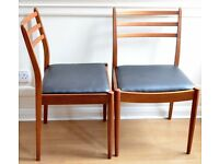 Set of 2 Vintage G Plan teak and leatherette chairs. Delivery. Modern / Midcentury