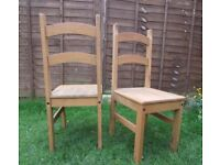 Set of 2 solid wood farmhouse dining chairs with matching seat pads - usable condition FREE DELIVERY