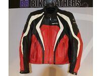 Spidi Leather Sports Motorcycle Jacket - EU 56 / UK 46 - Black Red White - BB Bike Leathers