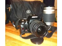 Pentax K-x DSLR camera kit with TWO lenses and camera bag.