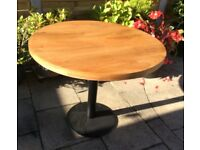 Oak Top Dining Tables, 3 Available, 36 Inch Diameter.