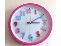 Girls pink wall clock battery operated