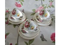 Lovely Vintage Traditional Gainsborough Bone China Cups Saucers.
