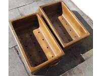 Two garden glazed troughs with 15 drainage holes.
