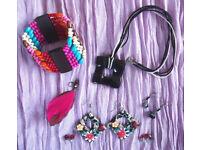 JEWELLERY: multi-coloured elasticated wooden bead bangle,pendent,earrings-pierced ears. £4 ovno lot