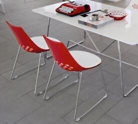 4 x Calligaris Jam Chair Designer Lounge Chrome SLEIGH Legs Dining Chair