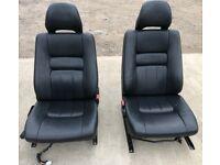 VOLVO V70 MK2 BLACK LEATHER REAR SEAT REST BACK /& SEAT BELT PRETENSIONER X2