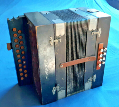 "Vintage Antique HOHNER Accordion 11.25x12x6"" md in Germany, mostly working order"