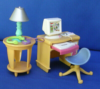 Fisher Price Loving Family Dollhouse Kid Computer Desk Swivel Chair/table Rare