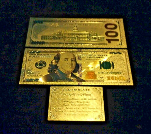 ~NEW STYLE~.999 GOLD$100 U.S BANKNOTE~STUNNING COLOR DETAIL& A COA~