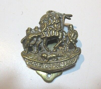 ANTIQUE  BRASS DOOR KNOCKER WIDDECOMBE FAIR LATE 1800'S