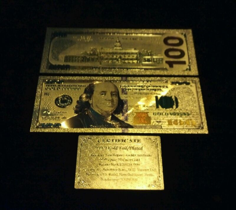 ~AMAZING NEW STYLE~.999 GOLD$100 U.S.BANKNOTE W/ COLOR &C.O.A~FREE SHIPPING~