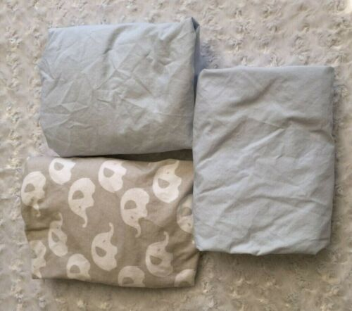LOT of 3 Fitted Play Yard, Portable Crib, Pack n Play Sheets-Blue