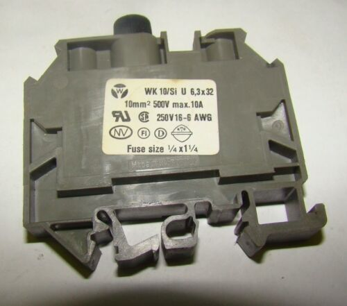 "1pc. Wieland WK 10/Si U Terminal Block 10A 500V Fuse Size 1/4x1-1/4"", Used"
