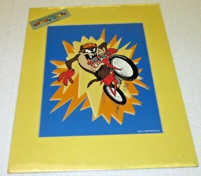 "LOONEY TUNES TAZ ON BIKE LITHOGRAPHIC PRINT WB 1995 LITHOGRAPH NEW 11""x14"""