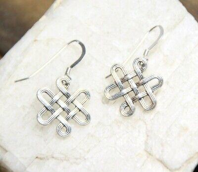 - Celtic Knot Design Pewter Charm 925 sterling silver Hook Earrings 1