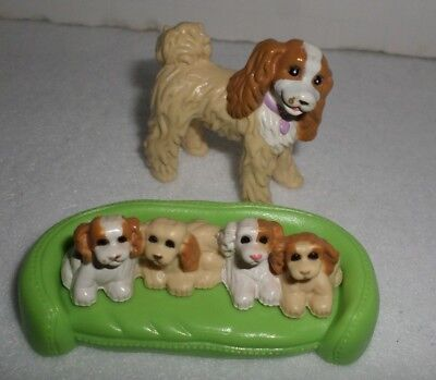 Fisher Price Loving Family Dollhouse Mama Dog with Puppies and Green Dog Bed
