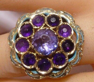Victorian 12K Gold Flower Ring Bezel Wrap Set Rose Cut Amethyst Enamel Estate