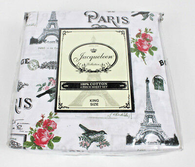 Jacqueleen Collection Paris Eiffel Tower Roses Birds King Sheet Set New Cotton. ()