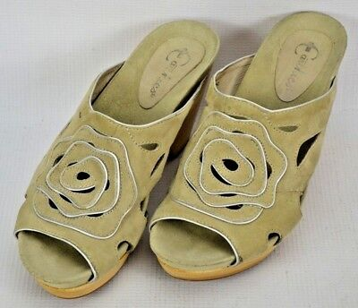 Earthies Tropez Suede Leather Wood Sole Slides Mules Shoes Womens 7.5 B Nude segunda mano  Embacar hacia Argentina