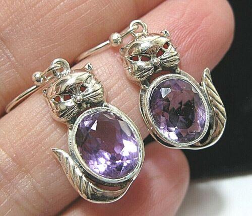 Beautiful Sterling Silver Real AMETHYST Gem Stone CAT Dangle Drop EARRINGS