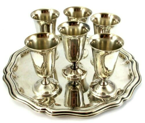 de Uberti Italian Silver Plate SHOT GLASSES on TRAY Set of 6 - 7 Pieces