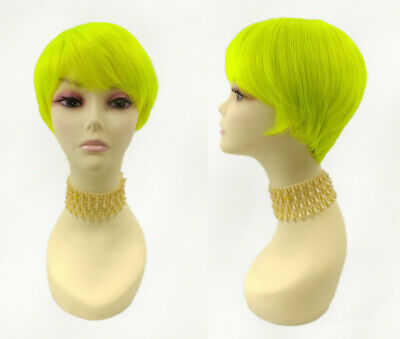 Pixie Cut Short Straight Wig Neon Green Bangs Heat Resistant Tapered