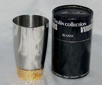 Stuart Devlin for Viners designer stainless steel beaker & box 1970s vintage