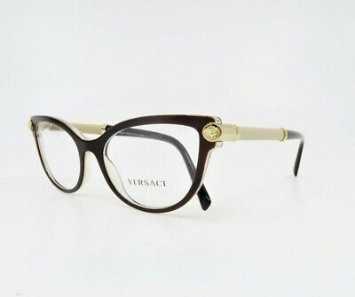 Versace Women's Cat-Eye Brown & Gold Glasses MOD 3270-Q 5300 52mm w/ Box