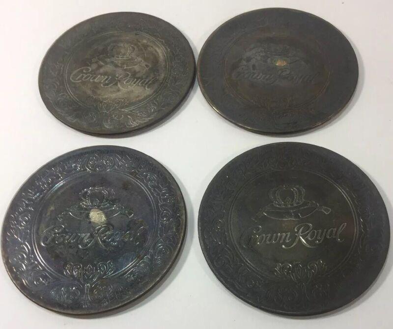 Vintage Set Of 4 Silverplated Crown Royal Drink Coasters Ornate Embossed Design