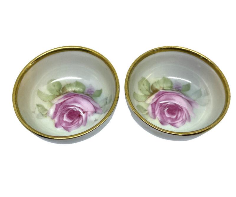 Two Small Round Butter Pats Shallow Dishes Gold Trim Handpainted Flowers Bavaria