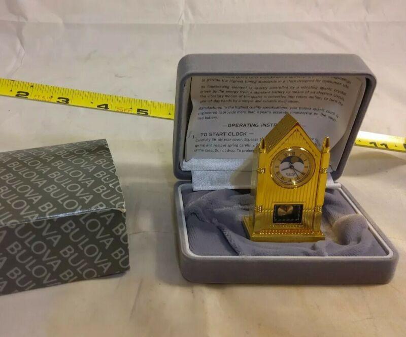 "Bulova Miniature Collection - B0509 ""Chancery"" Steeple Moonphase Clock *C174"