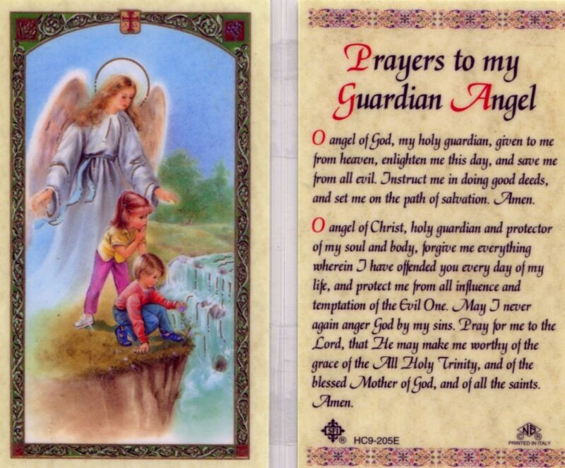 Prayer to My Guardian Angel Laminated Catholic Holy Card Given to Me From Heaven