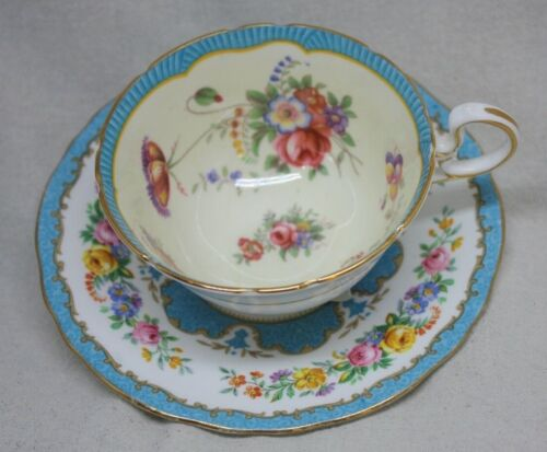 England Fine Bone China Crown Staffordshire Saucer and Aynsley Tea Cup Blue P88