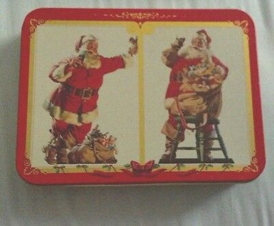 Coca-Cola Nostalgia Playing Cards Double Pack Brand New with Christmas Tin