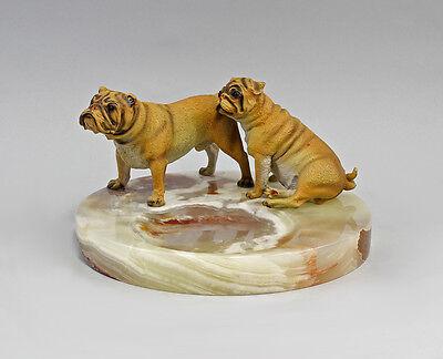 9937636 Bronze Skulptur farbig Hund Bolldogge und Mops Schale Onyx grün 20x11cm