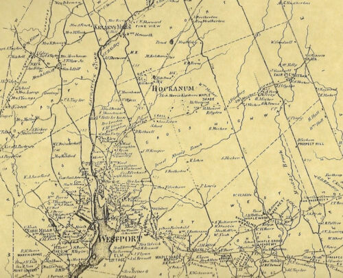 Westport Saugatuck CT 1867 Maps with Businesses and Homeowners Names Shown