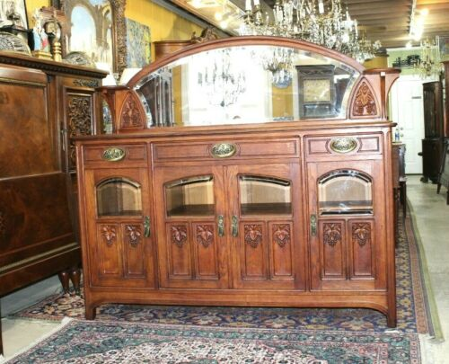 Exquisite French Antique Art Nouveau Oak Marble Top Sideboard / Server