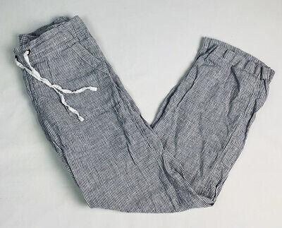 Athleta 4 Womens Linen Drawstring Waist Pants Striped Palazzo Resort Beach