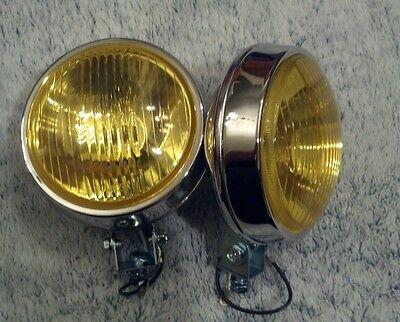 bumper mount round amber chrome fog lights chevy mg  toyota bmw e30 e28 2002tii