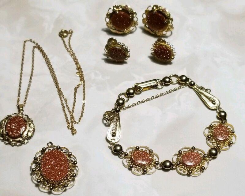 Yellow Gold/Sterling Silver & 12k GF Sand Stone Bracelet-Earrings-Pendant LOT
