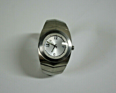 """Quicksilver """"Medalist"""" Stainless Steel Mens Watch~Hard To Find White Face w/Date"""