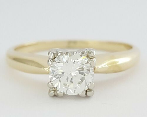 0.6 ct Vintage 14K Yellow Gold Round Cut Diamond Solitaire Engagement Ring
