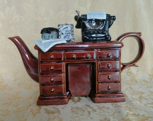Paul Cardew Porcelain Teapot W/ Lid Crime Writers Desk Typewriter