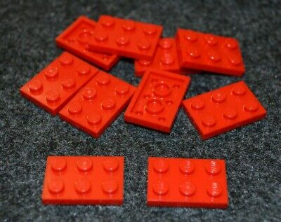 (10) 2x3 Red Standard Plate Bricks ~ Lego ~ NEW ~ Castle