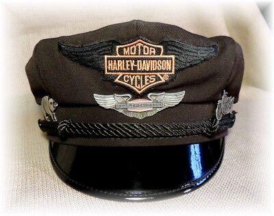 Harley Davidson 40's Style Vintage Retro Riding Captain Cap Size 7 1/4  Large