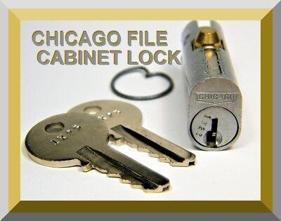 File Cabinet Lock - Chicago Lock With Two Keys - Original Equipment Mfg